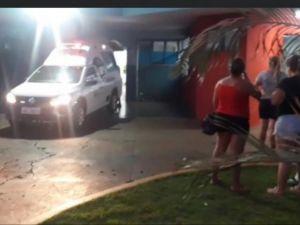 Ambulância que transportou o agressor ao hospital da cidadeFoto: Olimar Gamarra