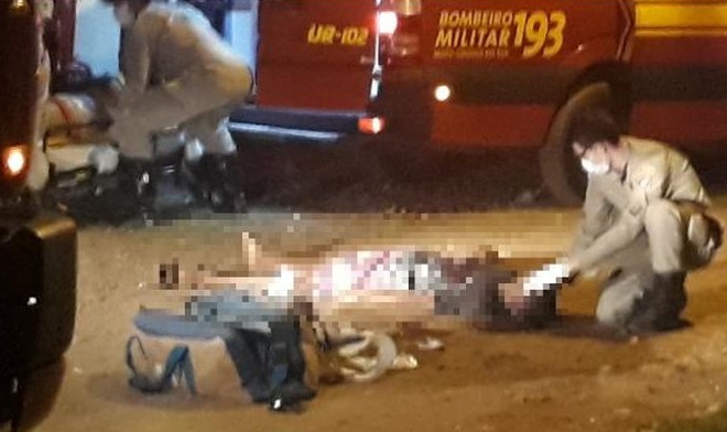 Na noite de sexta, um jovem morreu e uma adolescente ficou ferida em um atentado - Foto: WhatsApp/ Correio do Estado