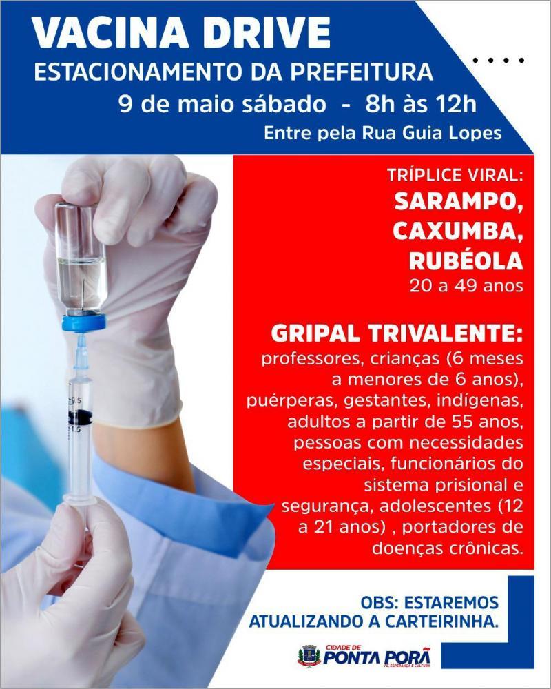 Estacionamento da prefeitura receberá vacina drive no sábado, dia 09