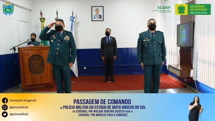 A passagem de comando foi transmitida pelas redes sociais da PMMS (Foto: Reprodução, Facebook)