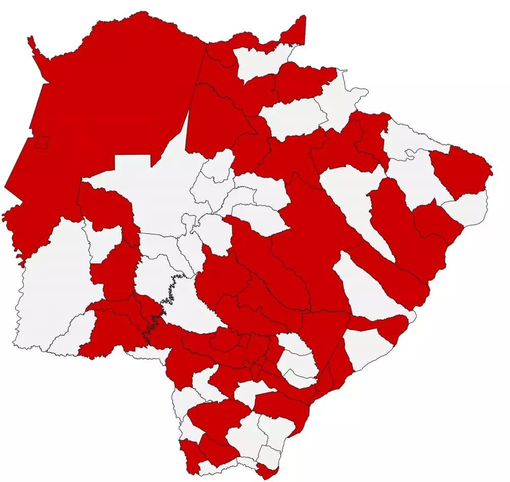 Distribuição geográfica dos casos confirmados da covid-19 em MS (Arte: Divulgação/Governo do Estado)