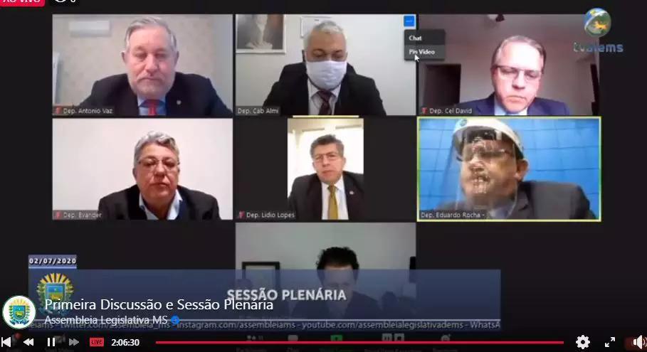 Sessão em videoconferência na Assembleia (Foto: Reprodução - Facebook)