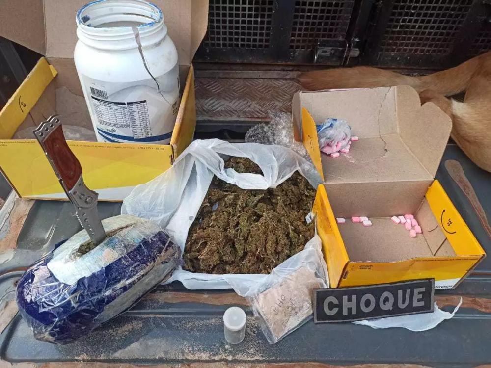 Maconha e comprimidos de ectase encontrados pela polícia em potes de whey. (Foto: Choque)