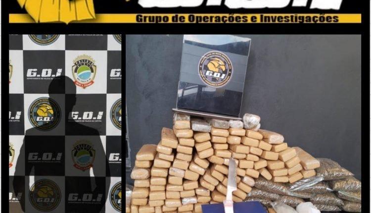 Foram apreendidos 105 quilos de maconha. Imagem: Divulgação