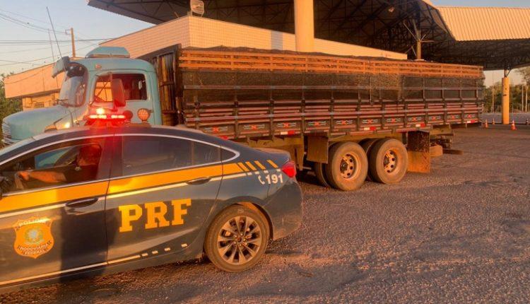 Caminhão com a carga foi apreendido (Foto: PRF)