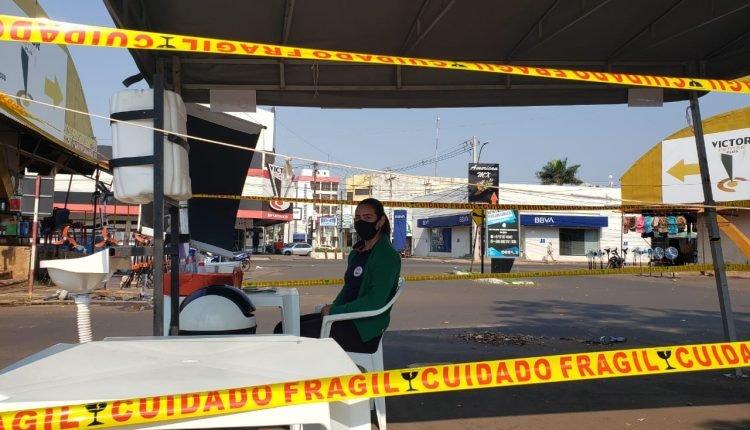 Barreira na fronteira na manhã desta terça-feira (Foto: Marcos Morandi, Midiamax)