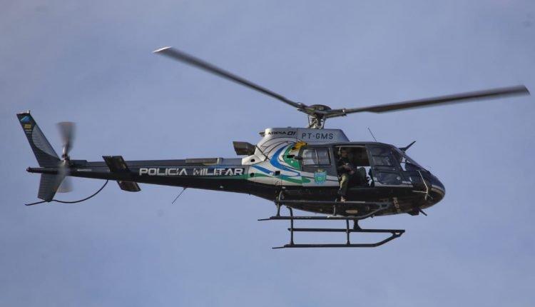 Helicóptero da PM de MS. (Foto: Franz Mendes)