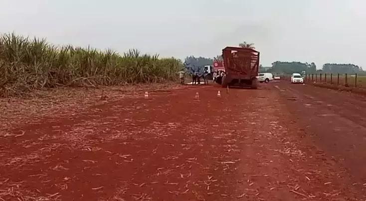 Perícia da Polícia Civil no local do acidente, em setembro (Foto/Arquivo:Rio Brilhante em Tempo Real)