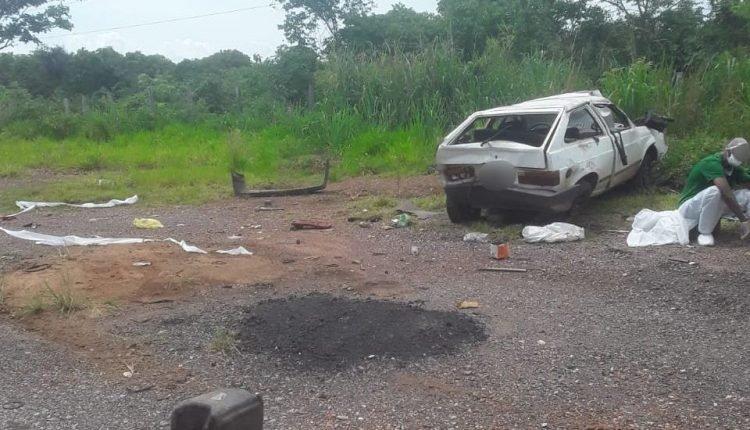 Carro envolvido no acidente. Foto: O Pantaneiro