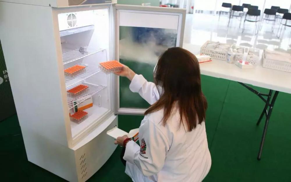 Profissional de saúde armazena doses da CoronaVac (Foto: Divulgação)