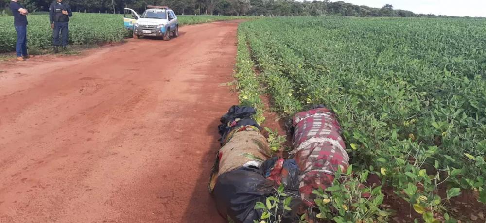 Corpos enrolados em cobertores e lona foram deixados ao lado de estrada vicinal (Foto: Divulgação)