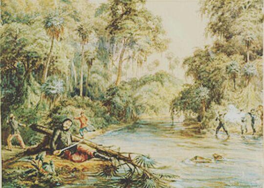 Créditos da Imagem: Morte de Francisco Solano López no rio Aquidabán, Batalha do Cerro Corá. Data 1870 Fonte Mitre, Iconografias Argentinas, Museo Roca, 2009, p.44 Autor Adolfo Methfessel (morreu em 1909)