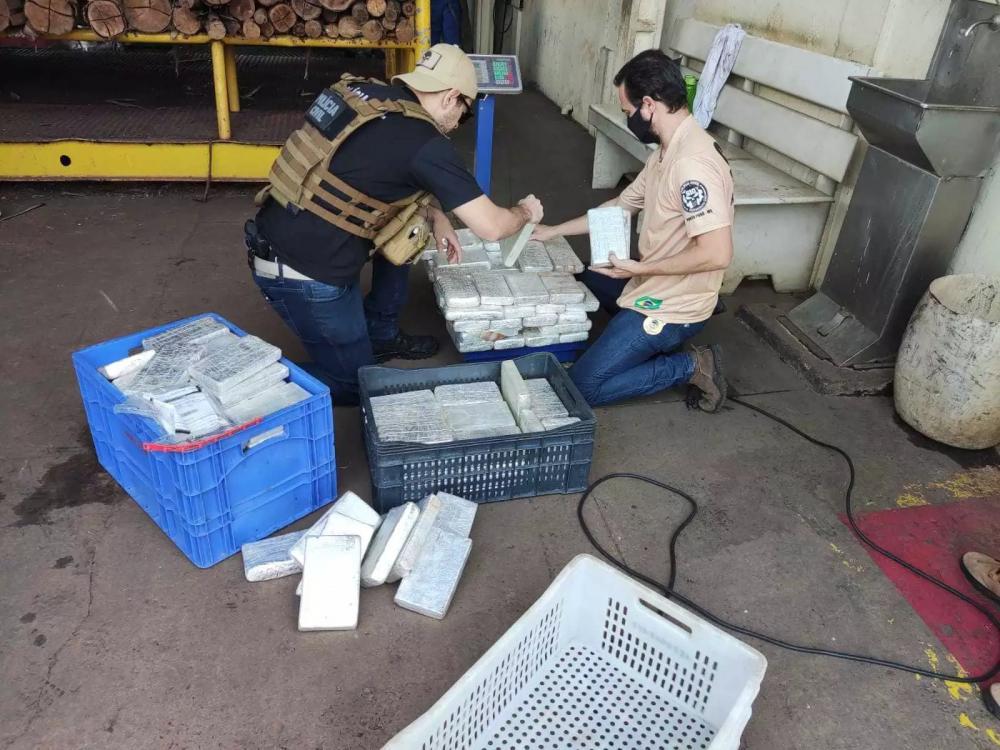 Policiais com os tabletes de cocaína que foram incinerados durante a operação desta terça-feira (14). (Foto: Polícia Civil)