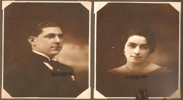 Foto Arquivo da Família Rodrigues. Acervo de Carlos Morel. Imagem Casal Dom Francisco Rodrigues e esposa Joaquina Trindad Rodrigues. Foto década de 30.